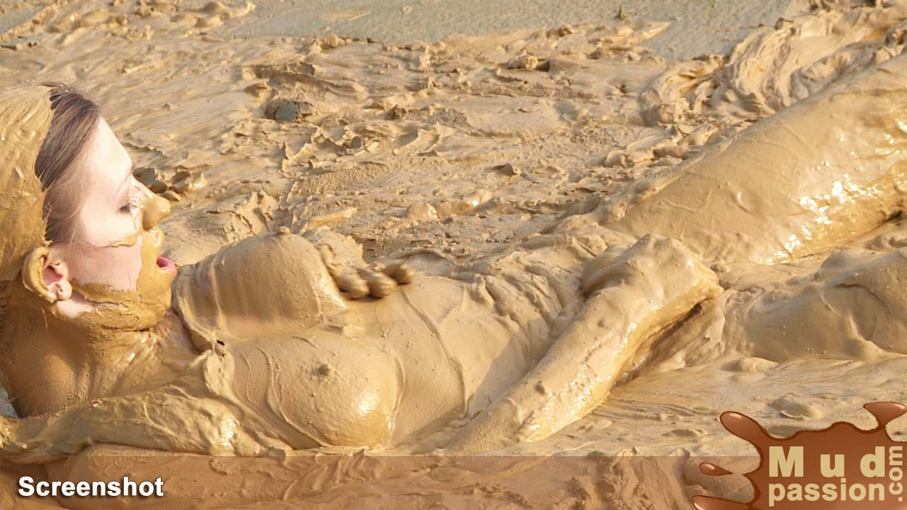 blond girl naked mud